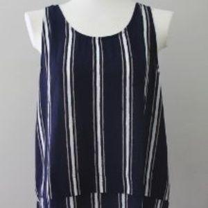 LUSH striped blue layered hem tank top